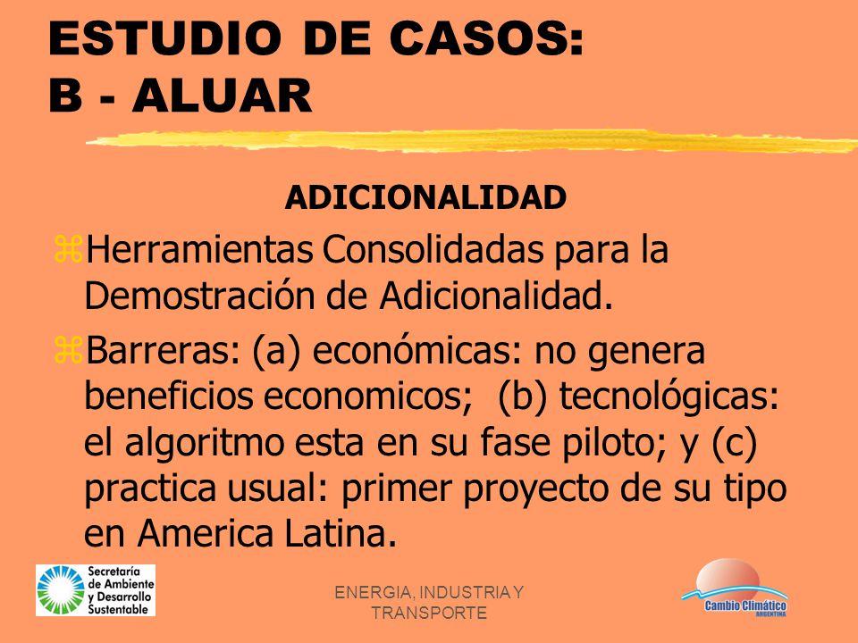 ENERGIA, INDUSTRIA Y TRANSPORTE ESTUDIO DE CASOS: B - ALUAR ADICIONALIDAD zHerramientas Consolidadas para la Demostración de Adicionalidad. zBarreras: