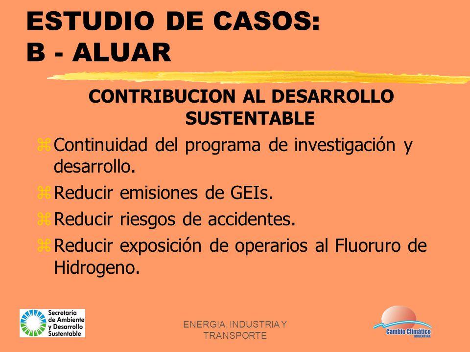 ENERGIA, INDUSTRIA Y TRANSPORTE ESTUDIO DE CASOS: B - ALUAR CONTRIBUCION AL DESARROLLO SUSTENTABLE zContinuidad del programa de investigación y desarr