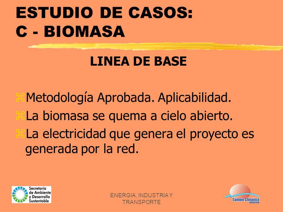 ENERGIA, INDUSTRIA Y TRANSPORTE ESTUDIO DE CASOS: C - BIOMASA LINEA DE BASE zMetodología Aprobada. Aplicabilidad. zLa biomasa se quema a cielo abierto