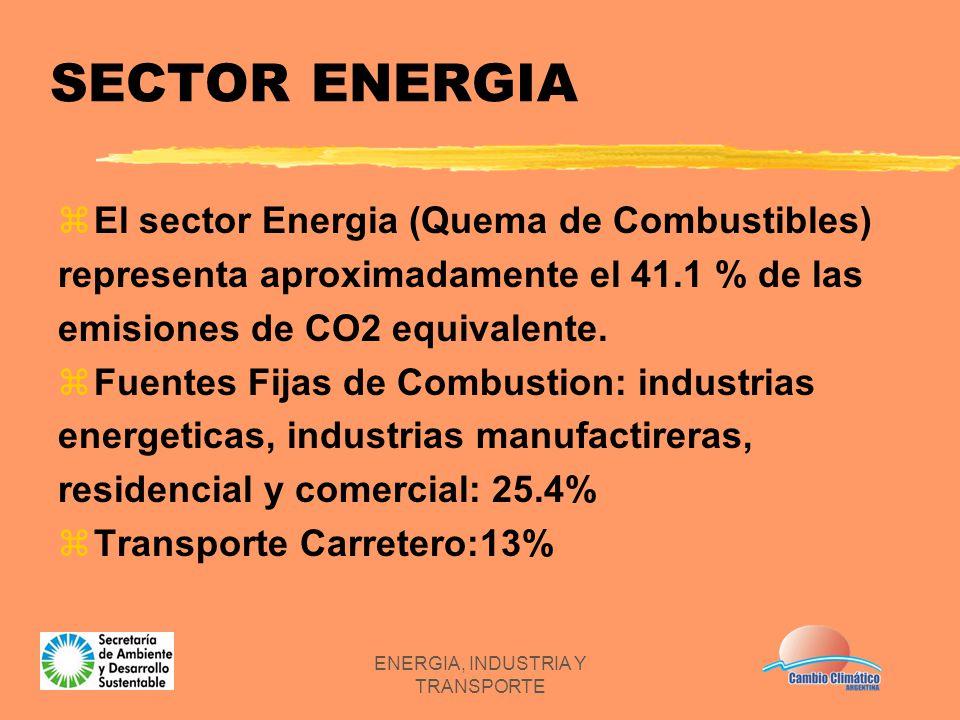 ENERGIA, INDUSTRIA Y TRANSPORTE SECTOR ENERGIA zEl sector Energia (Quema de Combustibles) representa aproximadamente el 41.1 % de las emisiones de CO2
