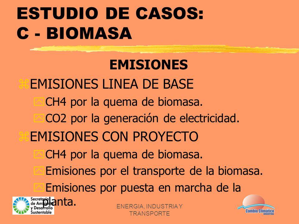 ENERGIA, INDUSTRIA Y TRANSPORTE ESTUDIO DE CASOS: C - BIOMASA EMISIONES zEMISIONES LINEA DE BASE yCH4 por la quema de biomasa. yCO2 por la generación