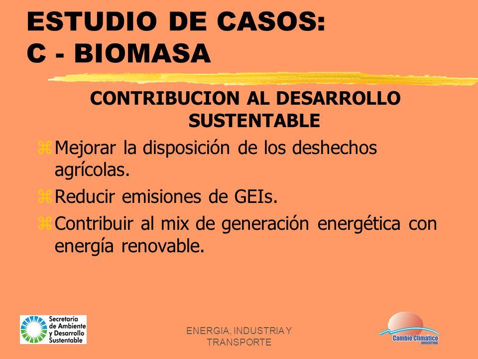 ENERGIA, INDUSTRIA Y TRANSPORTE ESTUDIO DE CASOS: C - BIOMASA CONTRIBUCION AL DESARROLLO SUSTENTABLE zMejorar la disposición de los deshechos agrícola