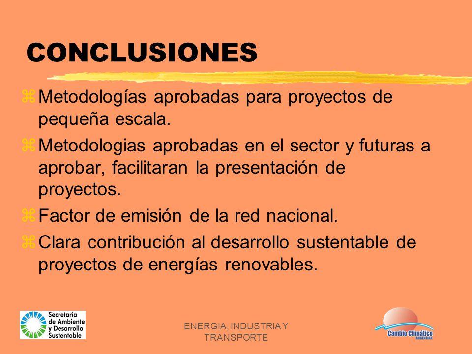 ENERGIA, INDUSTRIA Y TRANSPORTE CONCLUSIONES zMetodologías aprobadas para proyectos de pequeña escala. zMetodologias aprobadas en el sector y futuras