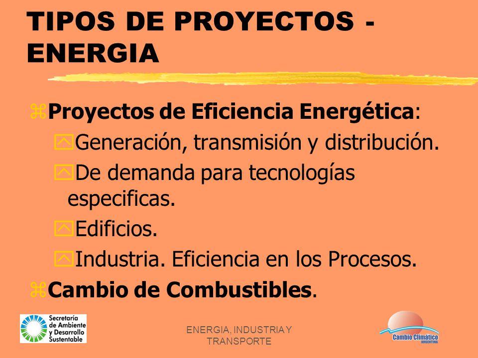 ENERGIA, INDUSTRIA Y TRANSPORTE TIPOS DE PROYECTOS - ENERGIA zProyectos de Eficiencia Energética: yGeneración, transmisión y distribución. yDe demanda