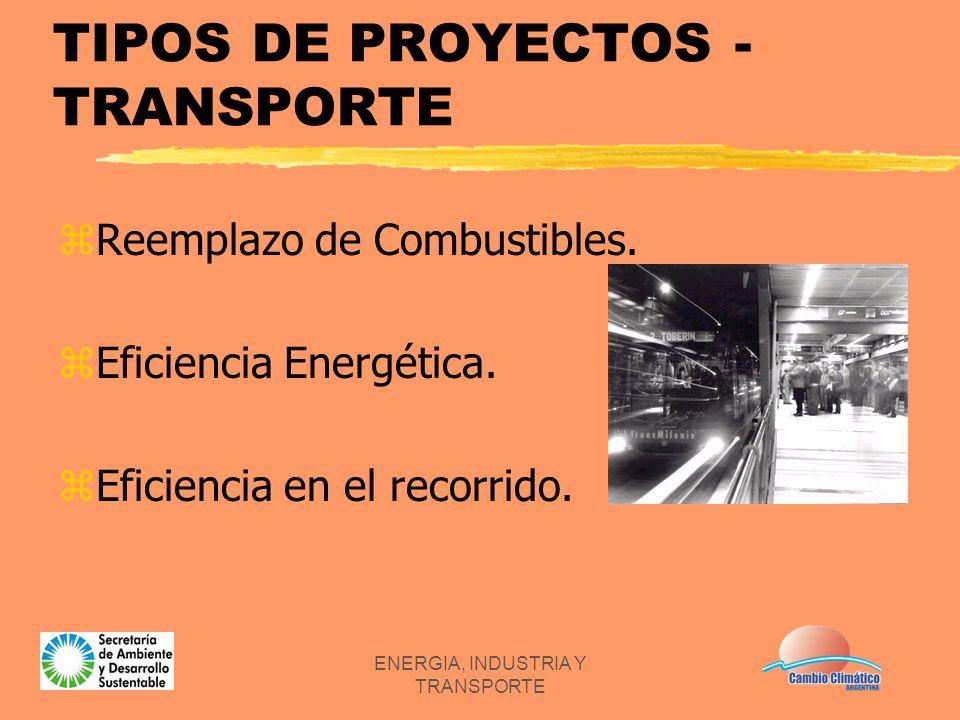 ENERGIA, INDUSTRIA Y TRANSPORTE TIPOS DE PROYECTOS - TRANSPORTE zReemplazo de Combustibles. zEficiencia Energética. zEficiencia en el recorrido.