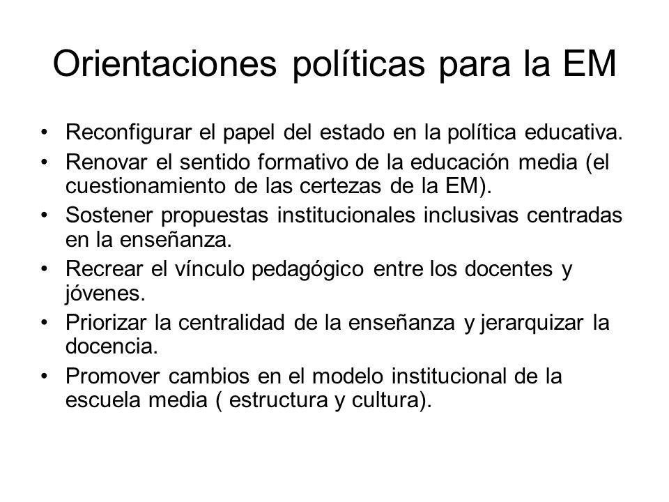Orientaciones políticas para la EM Reconfigurar el papel del estado en la política educativa.