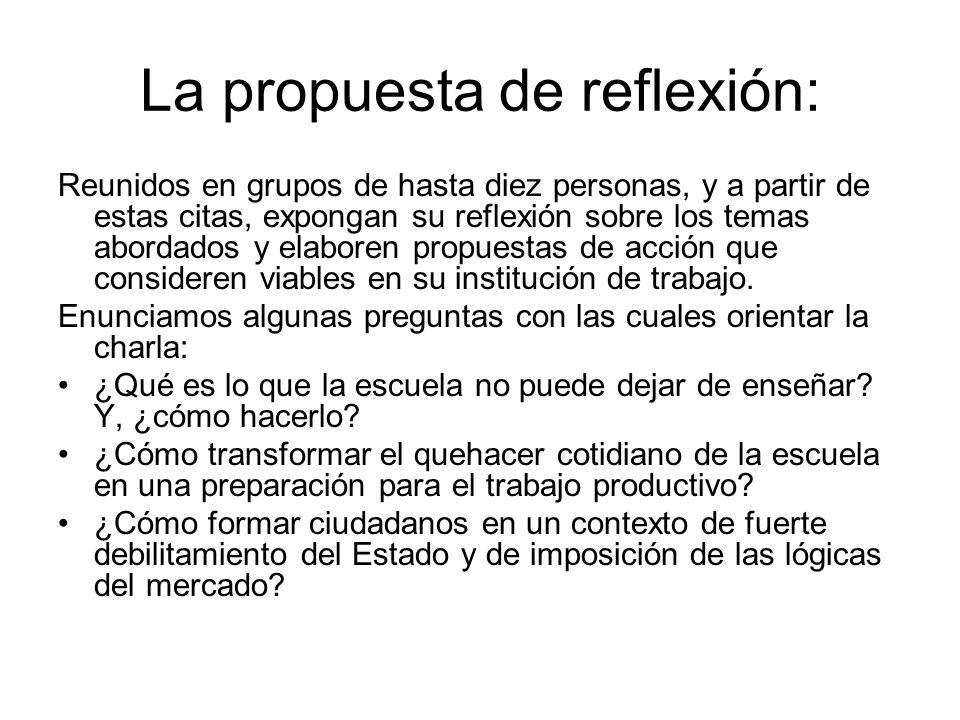 La propuesta de reflexión: Reunidos en grupos de hasta diez personas, y a partir de estas citas, expongan su reflexión sobre los temas abordados y elaboren propuestas de acción que consideren viables en su institución de trabajo.