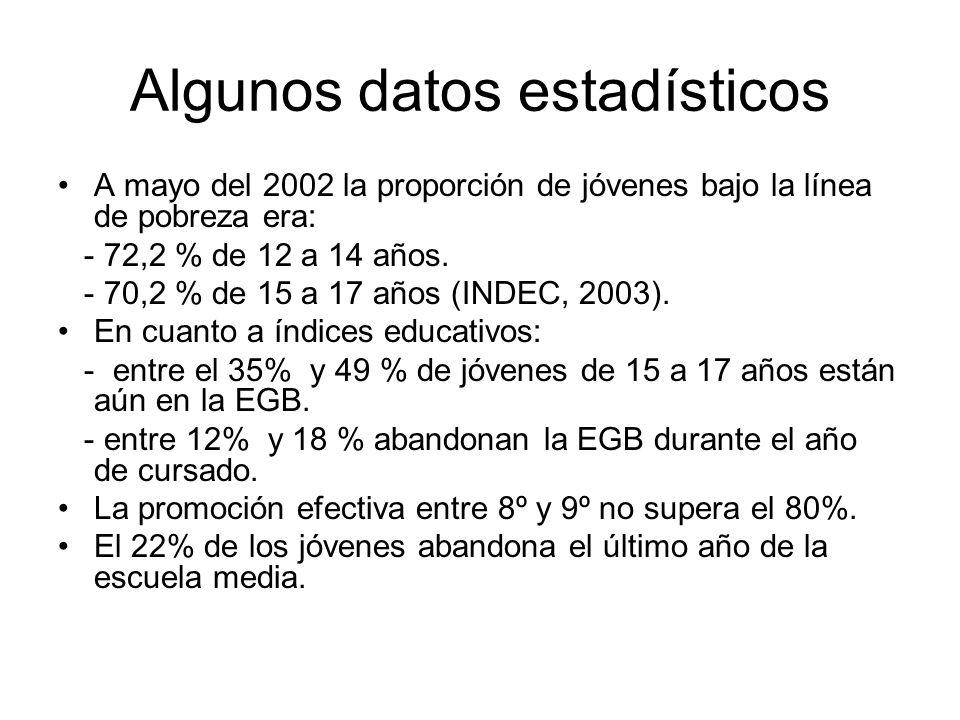 Algunos datos estadísticos A mayo del 2002 la proporción de jóvenes bajo la línea de pobreza era: - 72,2 % de 12 a 14 años.