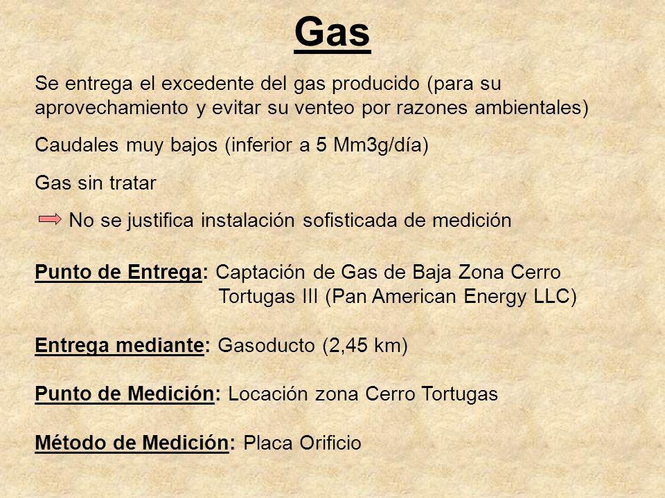 Gas Se entrega el excedente del gas producido (para su aprovechamiento y evitar su venteo por razones ambientales) Caudales muy bajos (inferior a 5 Mm