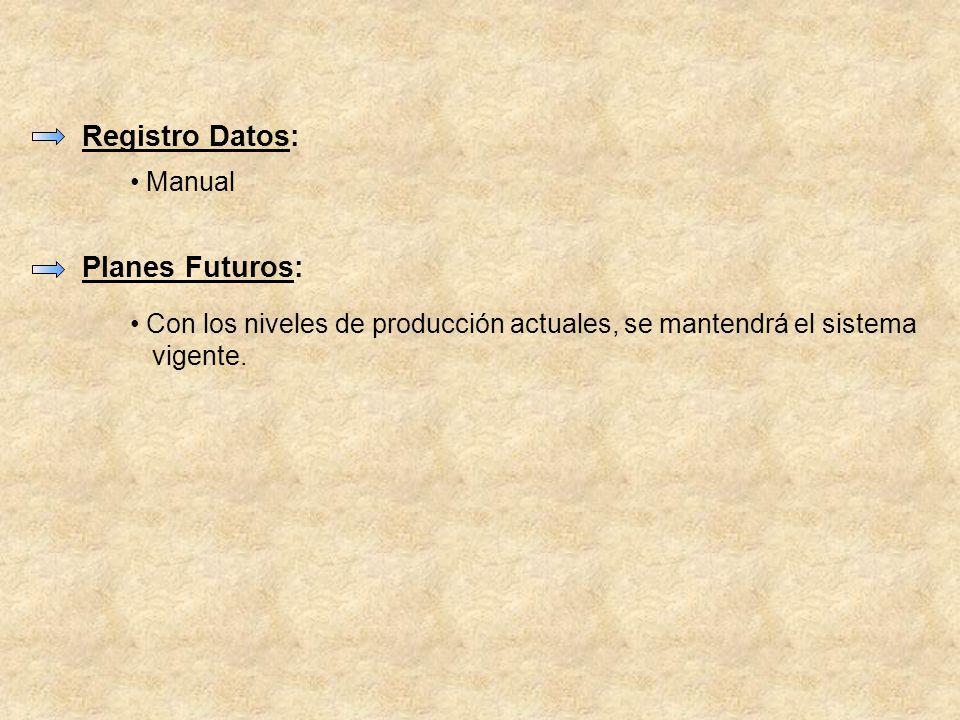 Registro Datos: Planes Futuros: Manual Con los niveles de producción actuales, se mantendrá el sistema vigente.