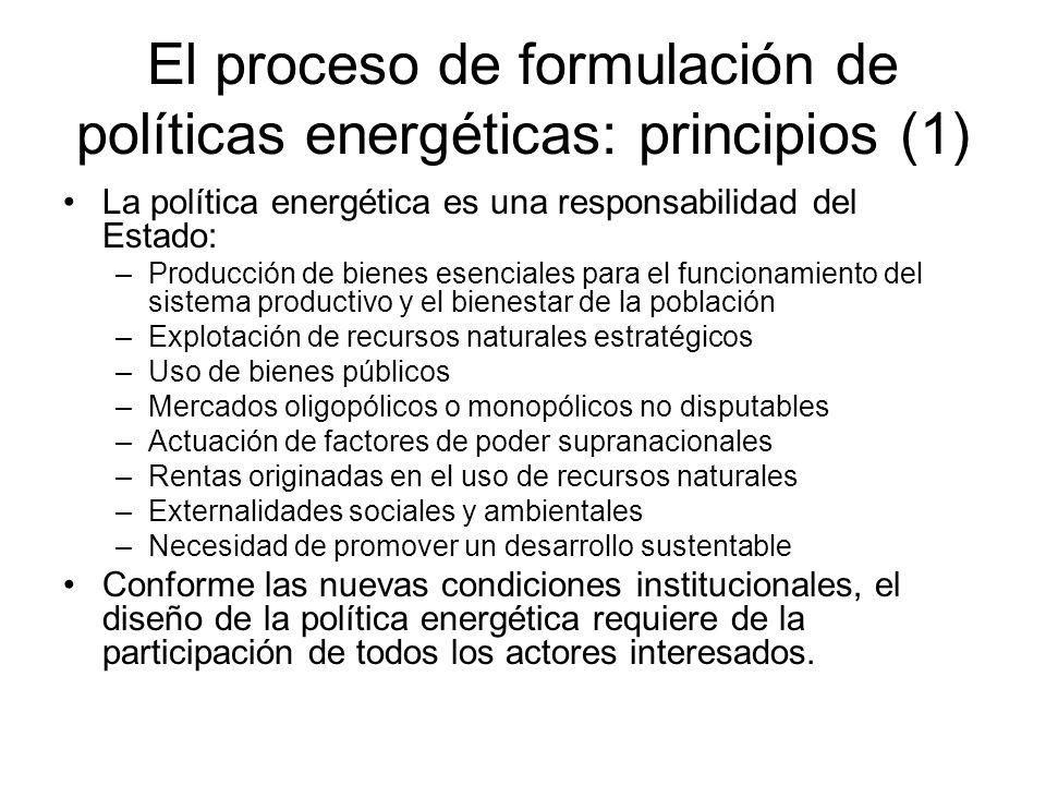 El proceso de formulación de políticas energéticas: principios (1) La política energética es una responsabilidad del Estado: –Producción de bienes ese