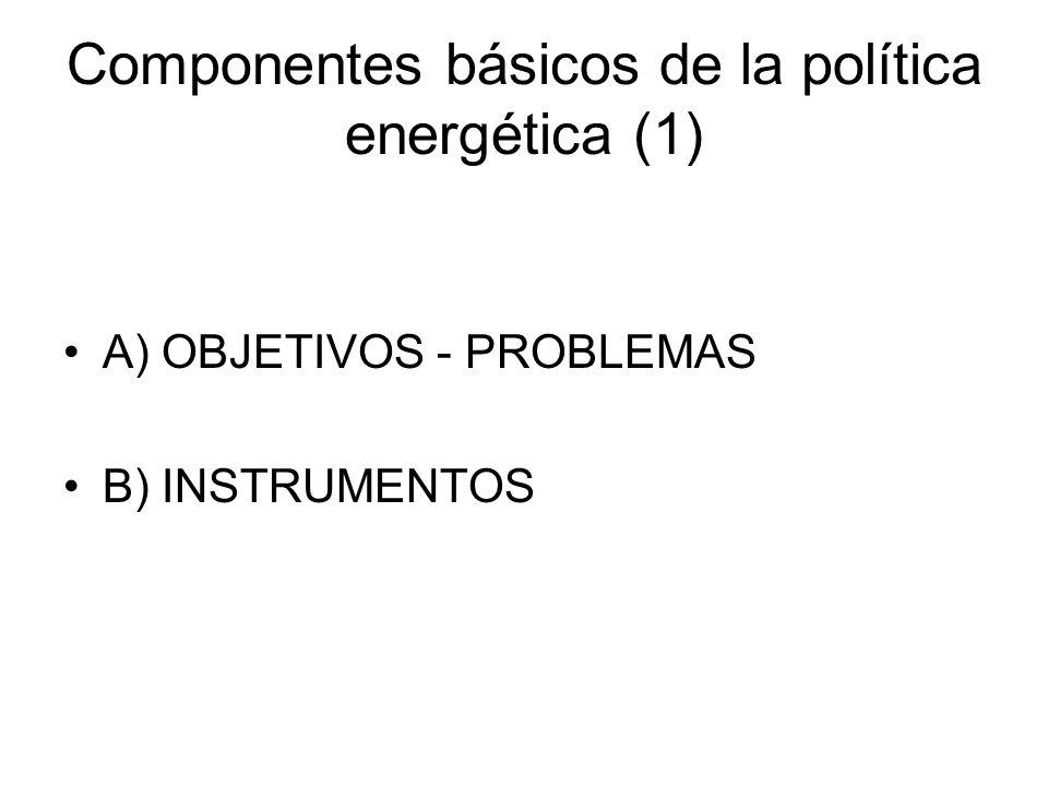 Componentes básicos de la política energética (1) A) OBJETIVOS - PROBLEMAS B) INSTRUMENTOS