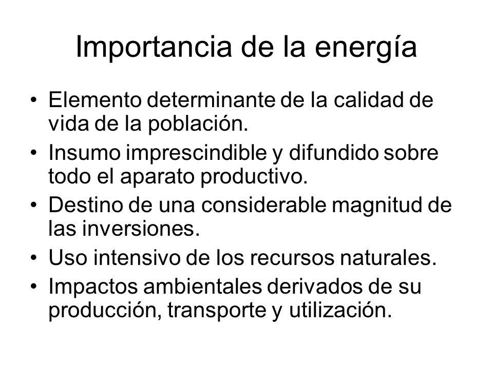 Importancia de la energía Elemento determinante de la calidad de vida de la población. Insumo imprescindible y difundido sobre todo el aparato product