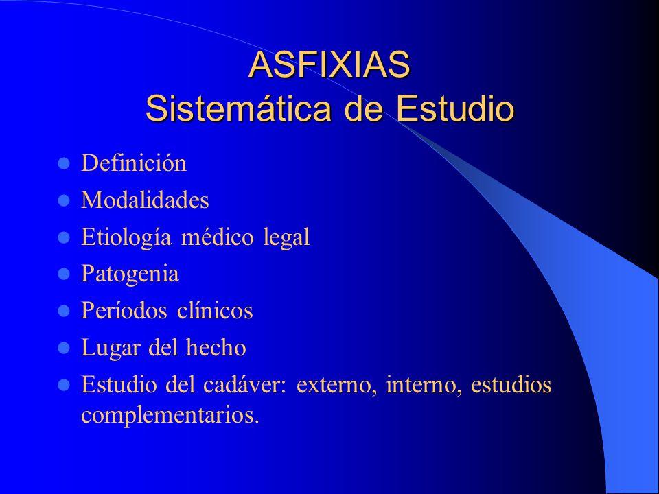 ASFIXIAS Sistemática de Estudio Definición Modalidades Etiología médico legal Patogenia Períodos clínicos Lugar del hecho Estudio del cadáver: externo