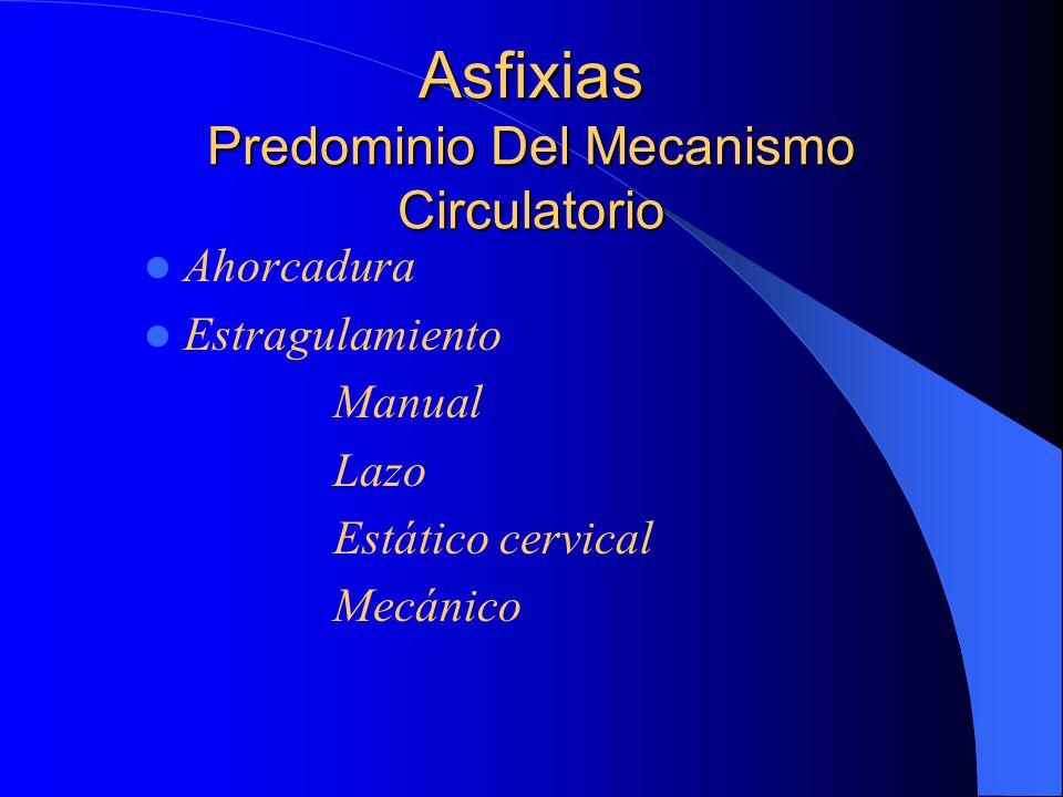Asfixias Predominio Del Mecanismo Circulatorio Ahorcadura Estragulamiento Manual Lazo Estático cervical Mecánico