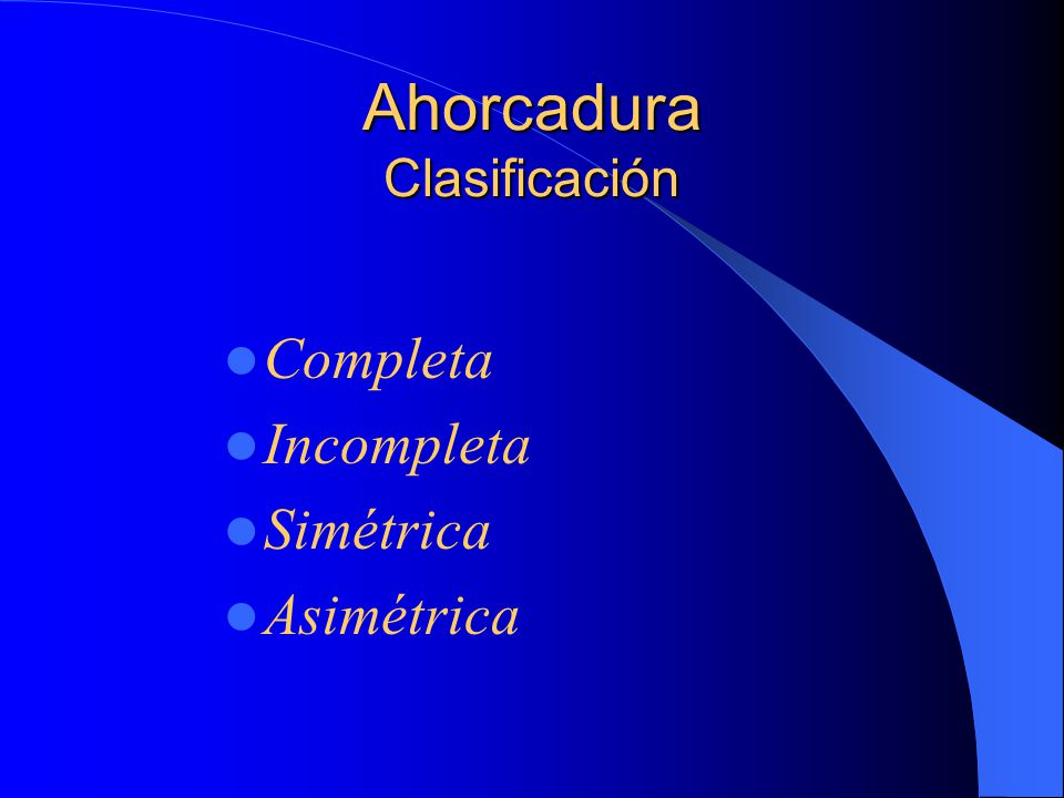 Ahorcadura Clasificación Completa Incompleta Simétrica Asimétrica