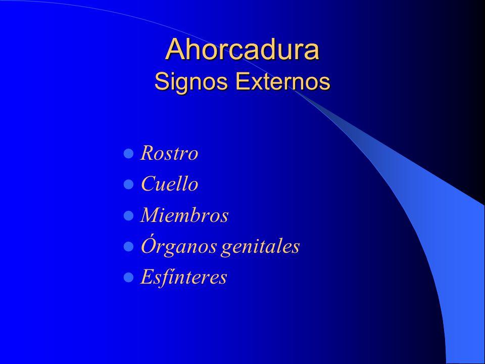 Ahorcadura Signos Externos Rostro Cuello Miembros Órganos genitales Esfínteres