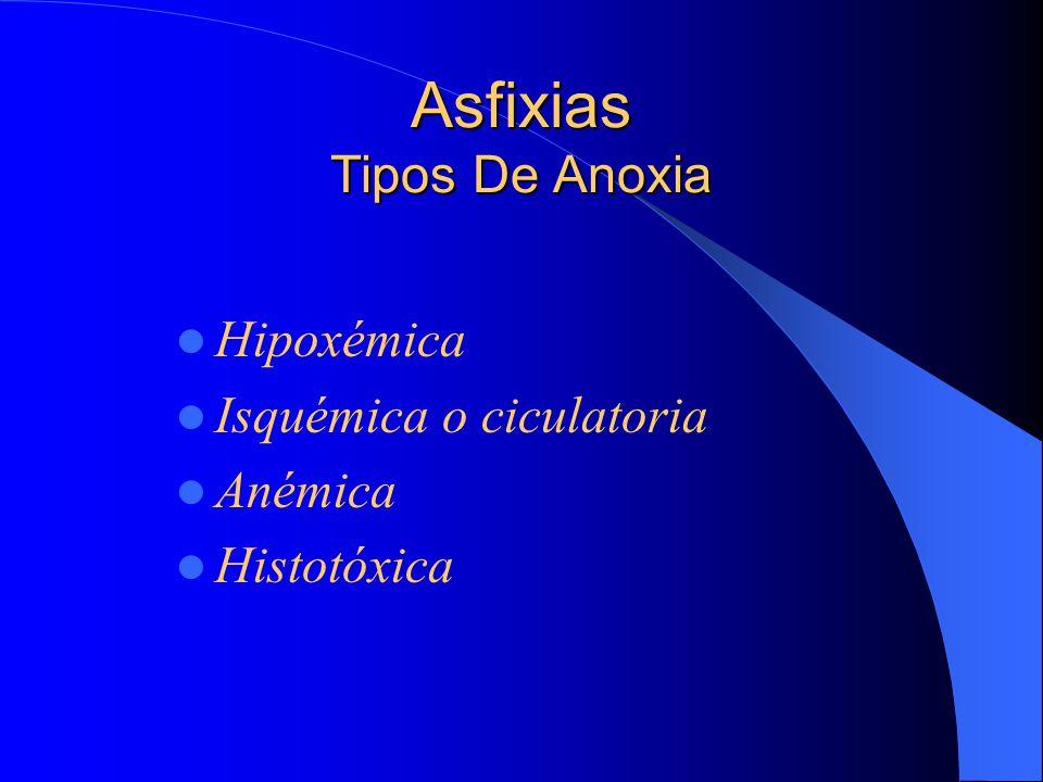 Asfixias Tipos De Anoxia Hipoxémica Isquémica o ciculatoria Anémica Histotóxica