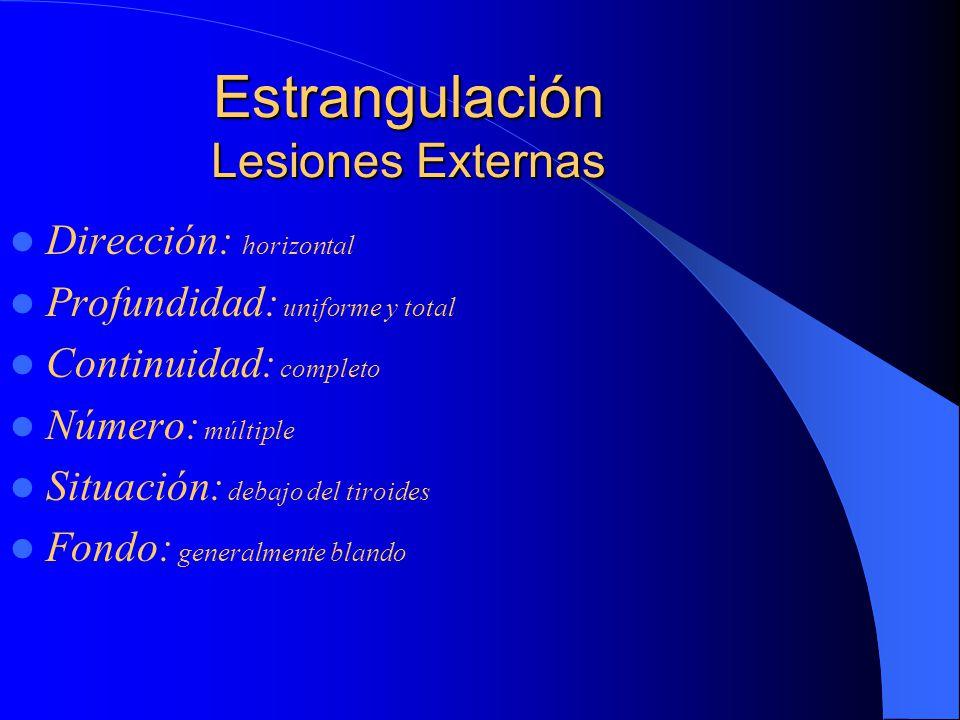 Estrangulación Lesiones Externas Dirección: horizontal Profundidad: uniforme y total Continuidad: completo Número: múltiple Situación: debajo del tiroides Fondo: generalmente blando