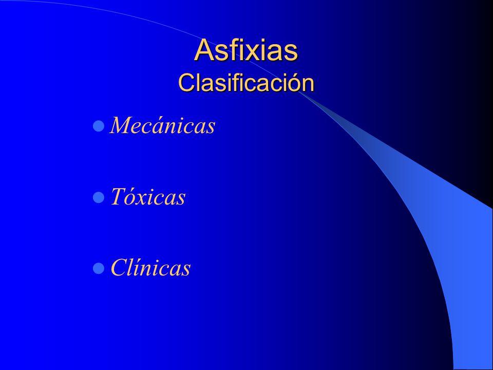 Asfixias Clasificación Mecánicas Tóxicas Clínicas