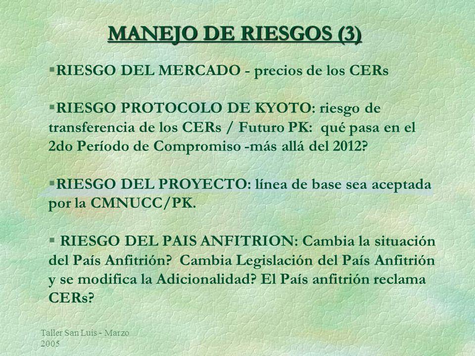 Taller San Luis - Marzo 2005 MANEJO DE RIESGOS (3) §RIESGO DEL MERCADO - precios de los CERs §RIESGO PROTOCOLO DE KYOTO: riesgo de transferencia de los CERs / Futuro PK: qué pasa en el 2do Período de Compromiso -más allá del 2012.