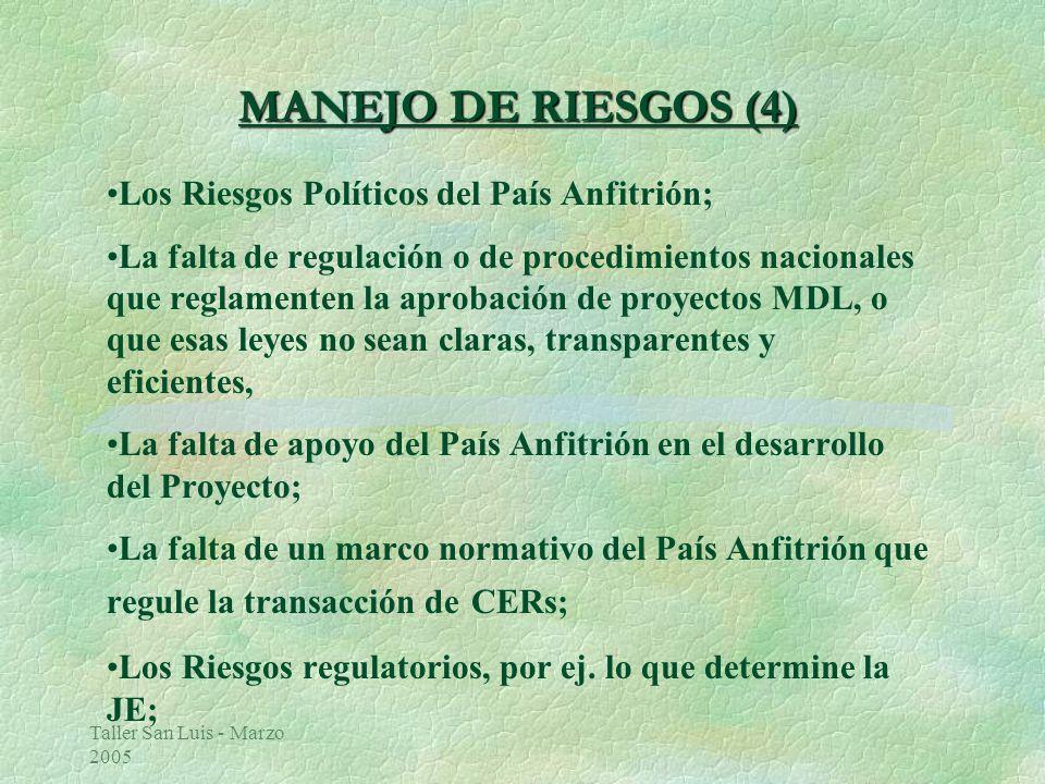 Taller San Luis - Marzo 2005 MANEJO DE RIESGOS (4) Los Riesgos Políticos del País Anfitrión; La falta de regulación o de procedimientos nacionales que reglamenten la aprobación de proyectos MDL, o que esas leyes no sean claras, transparentes y eficientes, La falta de apoyo del País Anfitrión en el desarrollo del Proyecto; La falta de un marco normativo del País Anfitrión que regule la transacción de CERs; Los Riesgos regulatorios, por ej.