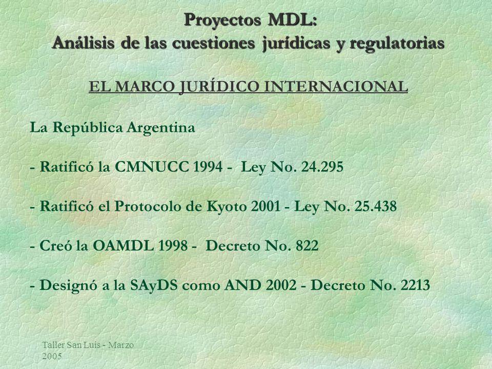 Taller San Luis - Marzo 2005 Proyectos MDL: Análisis de las cuestiones jurídicas y regulatorias Requisitos Jurídicos e Institucionales del País Anfitrión ò Existencia de una Autoridad Nacional Designada (AND) ò Requisitos Regulatorios para la Aprobación Nacional ò Requisitos Regulatorios Ambientales (EIA) òRequisitos Jurídicos e impositivos en los casos de Inversión Directa Extranjera