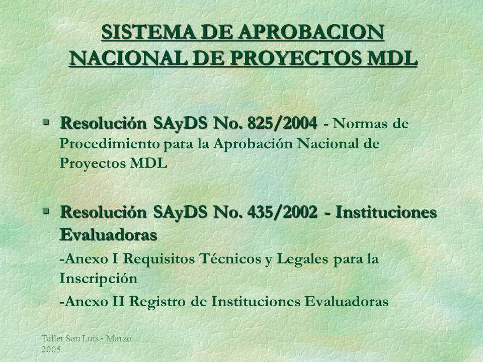 Taller San Luis - Marzo 2005 SISTEMA DE APROBACION NACIONAL DE PROYECTOS MDL §Resolución SAyDS No.825/2004 §Resolución SAyDS No.