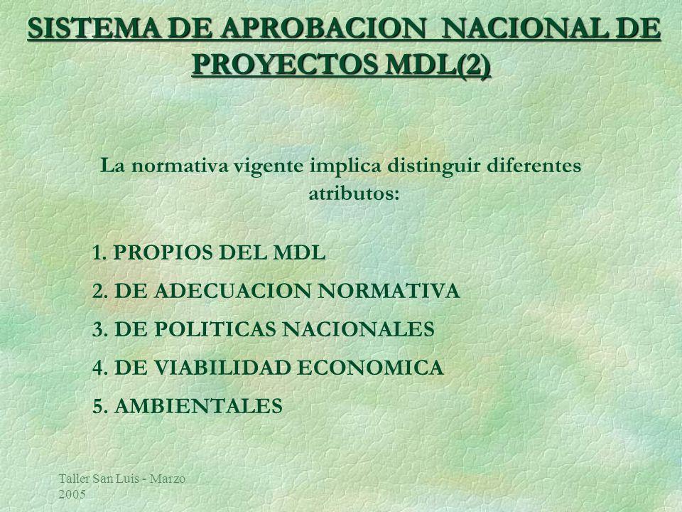 Taller San Luis - Marzo 2005 SISTEMA DE APROBACION NACIONAL DE PROYECTOS MDL(2) La normativa vigente implica distinguir diferentes atributos: 1.