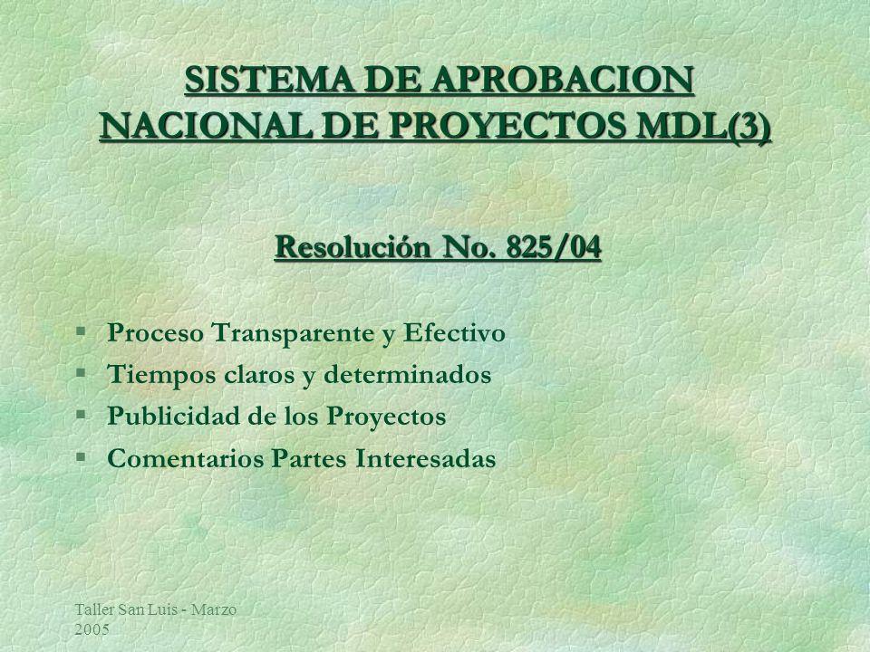 Taller San Luis - Marzo 2005 SISTEMA DE APROBACION NACIONAL DE PROYECTOS MDL(3) SISTEMA DE APROBACION NACIONAL DE PROYECTOS MDL(3) Resolución No.