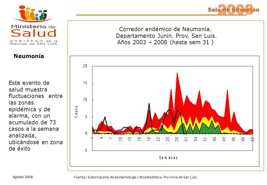 2008 Sala de Situación Agosto 2008 Fuente: Subprograma de Epidemiología y Bioestadística. Provincia de San Luis. Neumonía Este evento de salud muestra