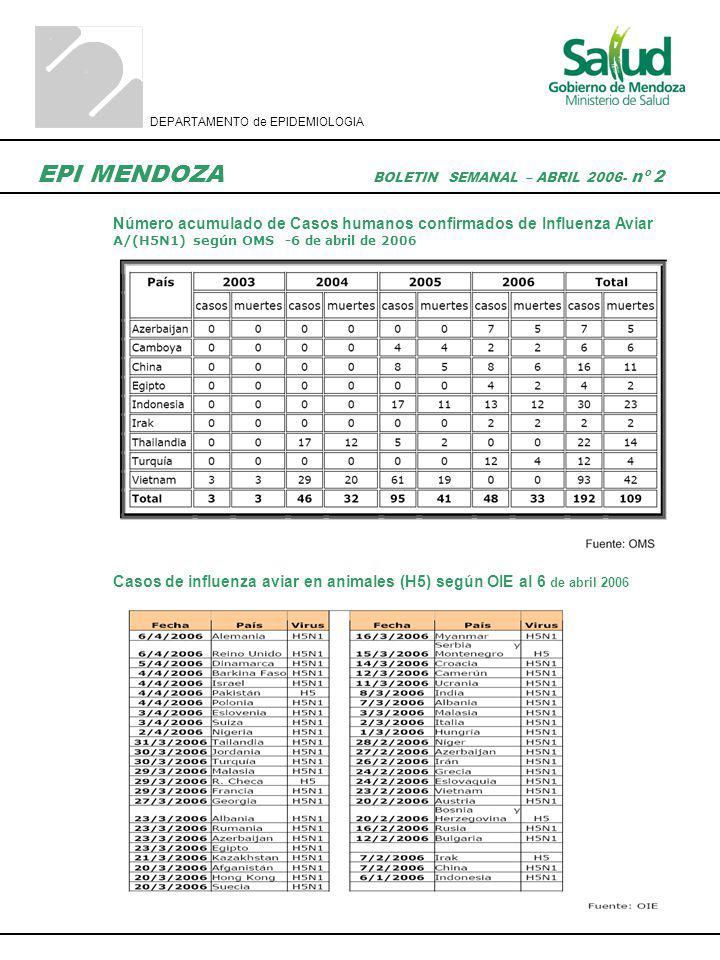 DEPARTAMENTO de EPIDEMIOLOGIA EPI MENDOZA BOLETIN SEMANAL – ABRIL 2006- nº 2 Número acumulado de Casos humanos confirmados de Influenza Aviar A/(H5N1)