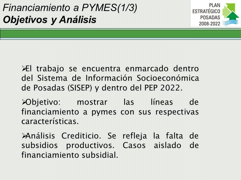 Financiamiento a PYMES(1/3) Objetivos y Análisis El trabajo se encuentra enmarcado dentro del Sistema de Información Socioeconómica de Posadas (SISEP) y dentro del PEP 2022.