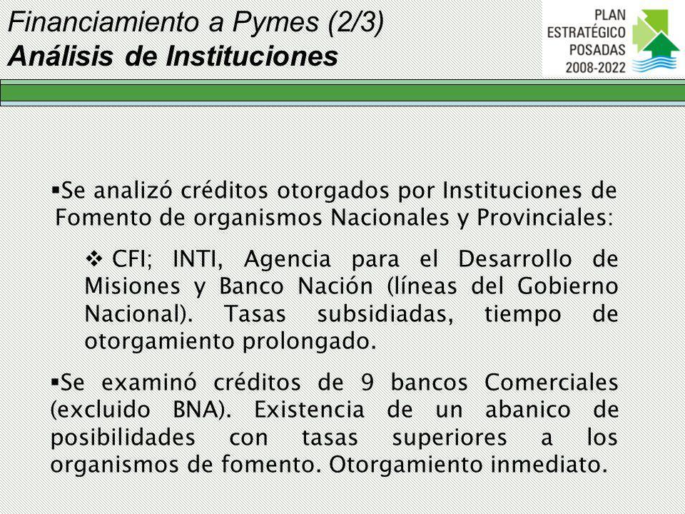 Financiamiento a Pymes (2/3) Análisis de Instituciones Se analizó créditos otorgados por Instituciones de Fomento de organismos Nacionales y Provinciales: CFI; INTI, Agencia para el Desarrollo de Misiones y Banco Nación (líneas del Gobierno Nacional).