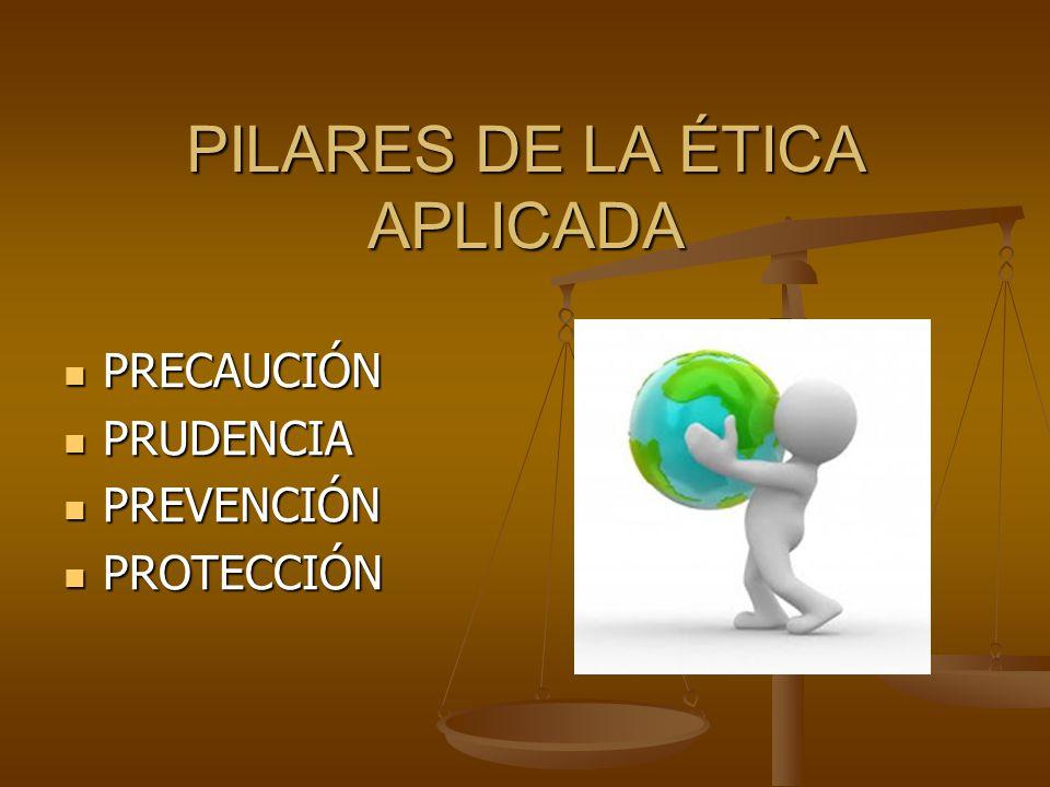 PILARES DE LA ÉTICA APLICADA PRECAUCIÓN PRECAUCIÓN PRUDENCIA PRUDENCIA PREVENCIÓN PREVENCIÓN PROTECCIÓN PROTECCIÓN