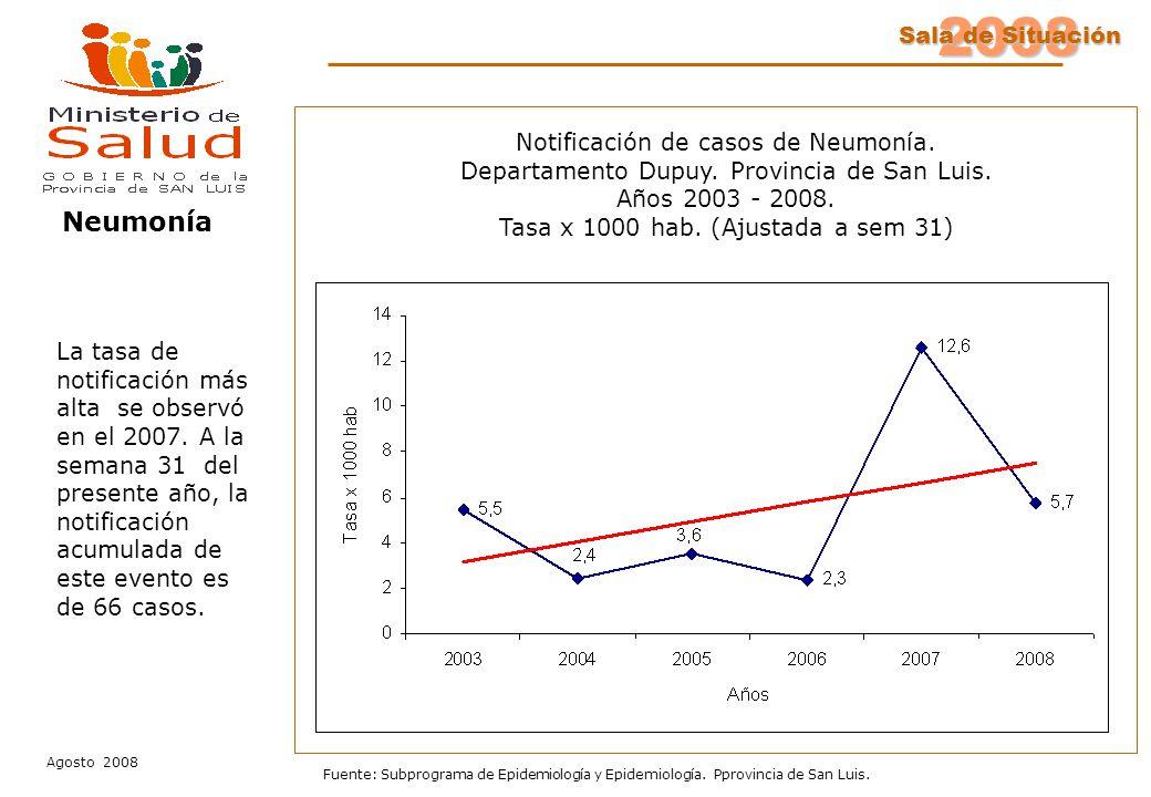 2008 Sala de Situación Agosto 2008 Fuente: Subprograma de Epidemiología y Epidemiología. Pprovincia de San Luis. Notificación de casos de Neumonía. De
