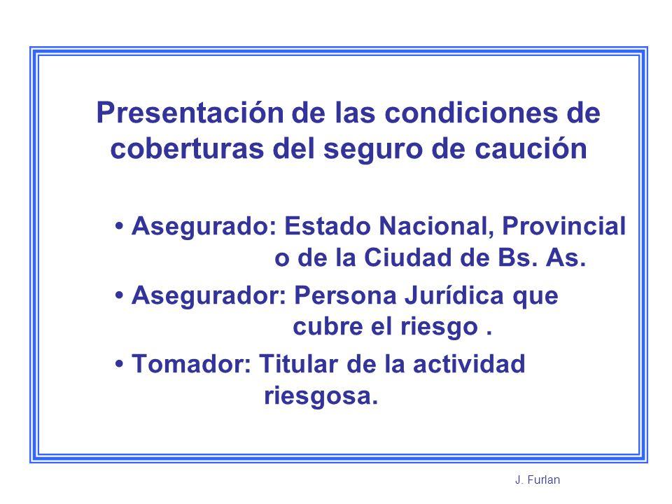 Presentación de las condiciones de coberturas del seguro de caución Asegurado: Estado Nacional, Provincial o de la Ciudad de Bs. As. Asegurador: Perso