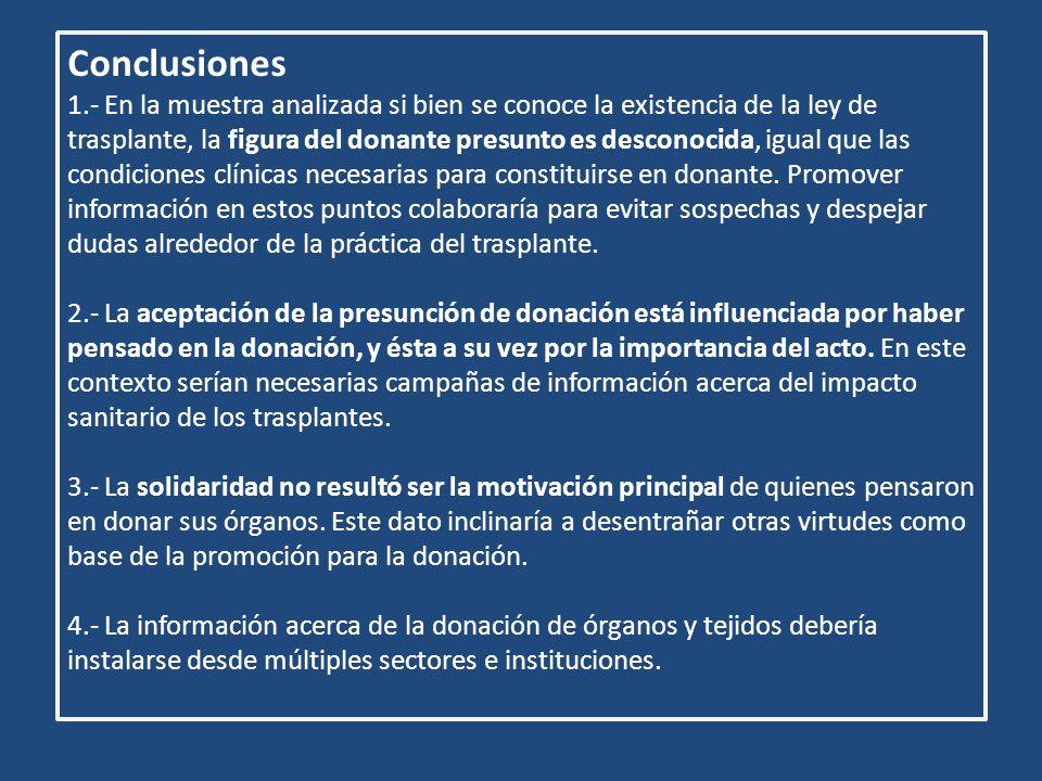 Conclusiones 1.- En la muestra analizada si bien se conoce la existencia de la ley de trasplante, la figura del donante presunto es desconocida, igual que las condiciones clínicas necesarias para constituirse en donante.