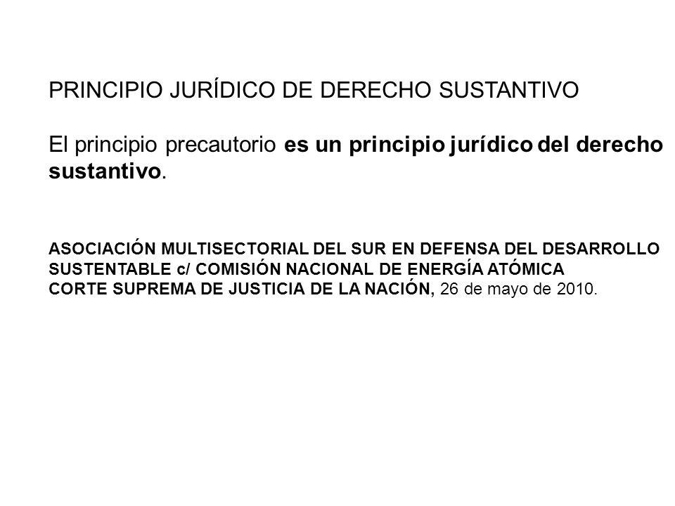 PRINCIPIO JURÍDICO DE DERECHO SUSTANTIVO El principio precautorio es un principio jurídico del derecho sustantivo. ASOCIACIÓN MULTISECTORIAL DEL SUR E