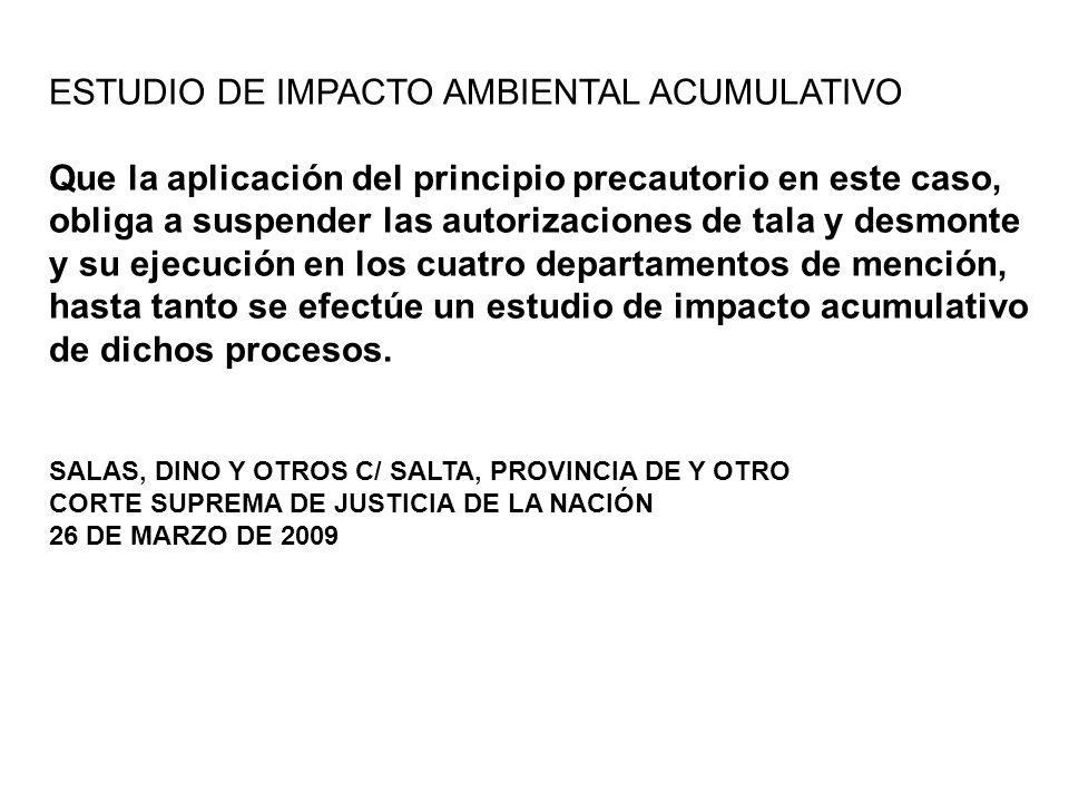 ESTUDIO DE IMPACTO AMBIENTAL ACUMULATIVO Que la aplicación del principio precautorio en este caso, obliga a suspender las autorizaciones de tala y des