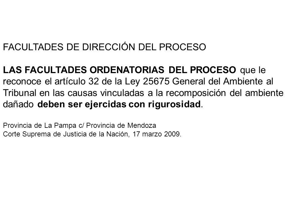 FACULTADES DE DIRECCIÓN DEL PROCESO LAS FACULTADES ORDENATORIAS DEL PROCESO que le reconoce el artículo 32 de la Ley 25675 General del Ambiente al Tri