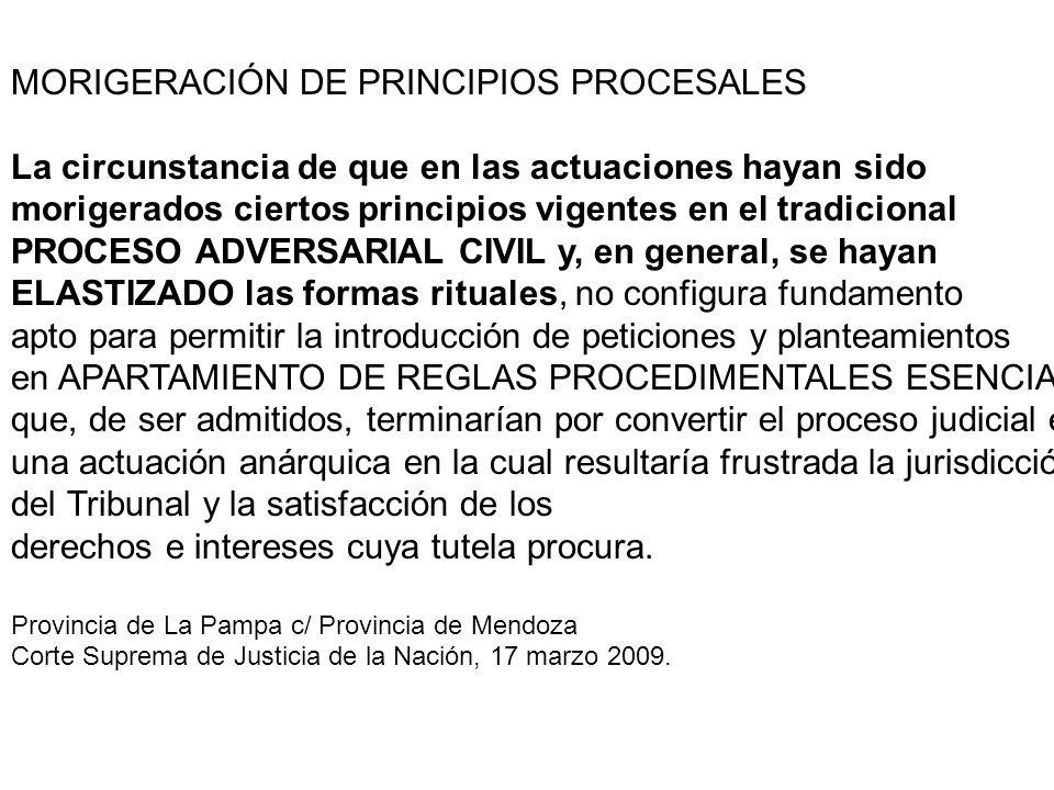 MORIGERACIÓN DE PRINCIPIOS PROCESALES La circunstancia de que en las actuaciones hayan sido morigerados ciertos principios vigentes en el tradicional