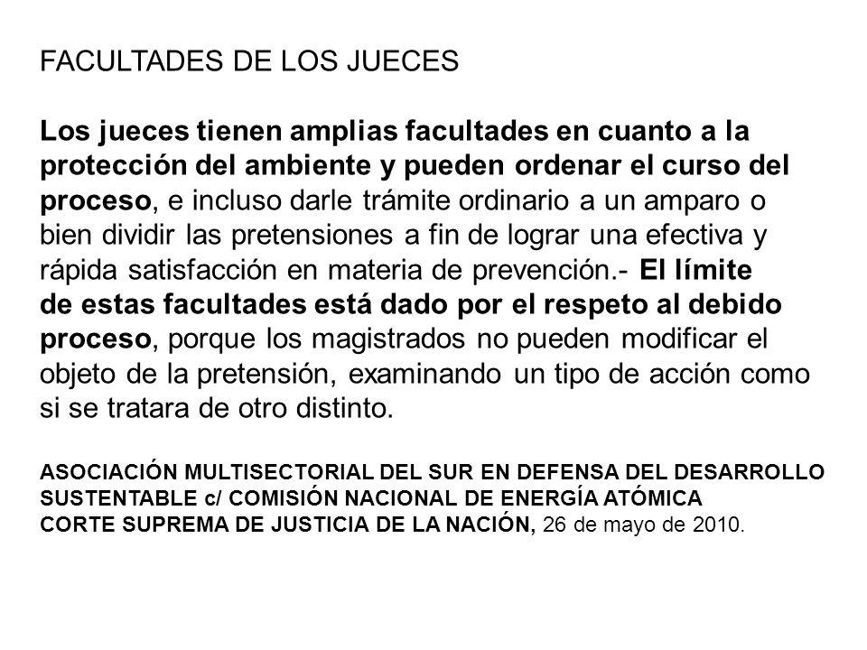 FACULTADES DE LOS JUECES Los jueces tienen amplias facultades en cuanto a la protección del ambiente y pueden ordenar el curso del proceso, e incluso