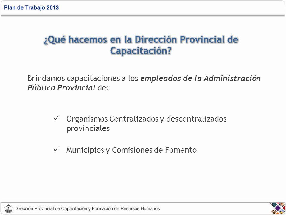 Brindamos capacitaciones a los empleados de la Administración Pública Provincial de: Organismos Centralizados y descentralizados provinciales Municipios y Comisiones de Fomento