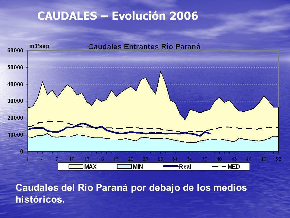 CAUDALES – Evolución 2006 Caudales del Río Paraná por debajo de los medios históricos.