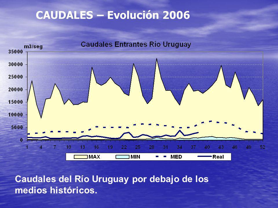 CAUDALES – Evolución 2006 Caudales del Río Uruguay por debajo de los medios históricos.