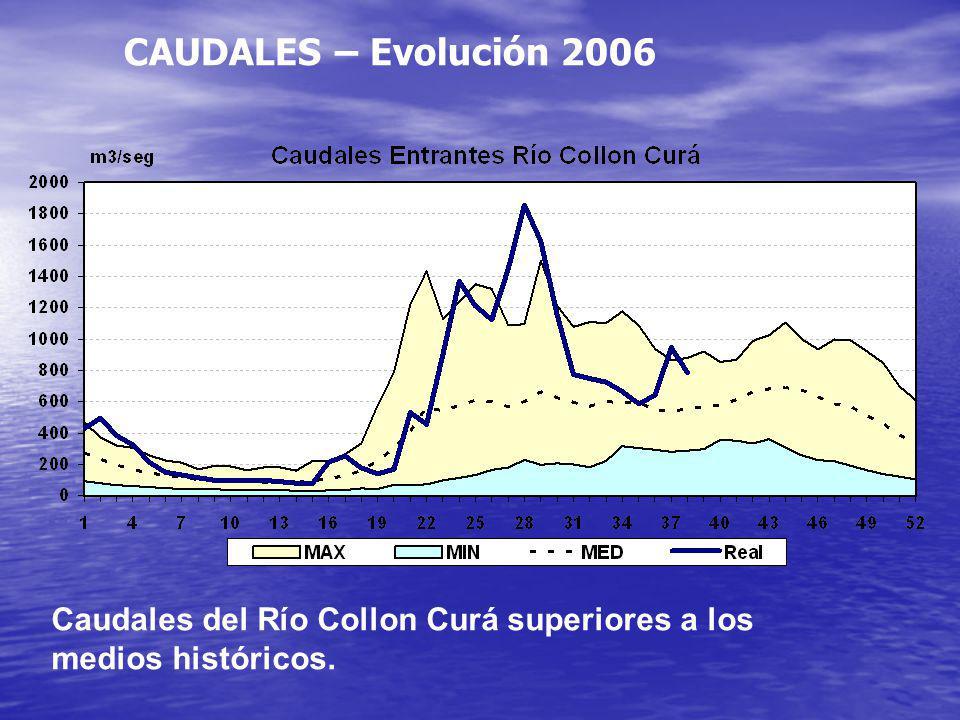 CAUDALES – Evolución 2006 Caudales del Río Collon Curá superiores a los medios históricos.