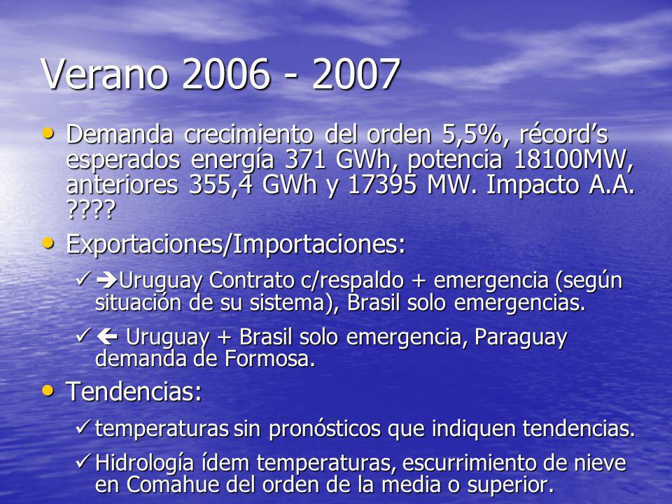 Verano 2006 - 2007 Demanda crecimiento del orden 5,5%, récords esperados energía 371 GWh, potencia 18100MW, anteriores 355,4 GWh y 17395 MW. Impacto A