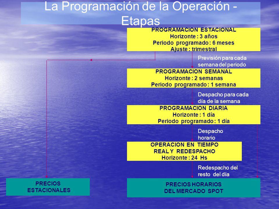 La Programación de la Operación Horizontes de cálculo Estacional ( 3 años) Plurianual paso semanal con bloques horarios.