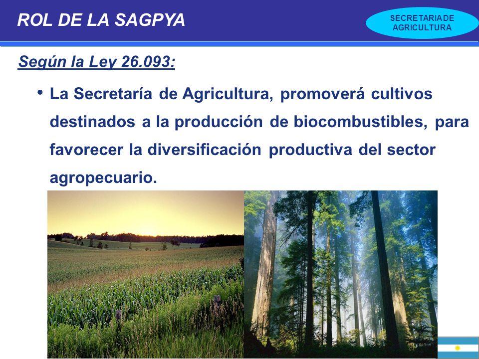 SECRETARIA DE AGRICULTURA La Secretaría de Agricultura, promoverá cultivos destinados a la producción de biocombustibles, para favorecer la diversific